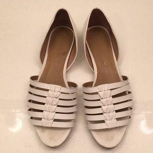 White Slip-on Flat Sandals